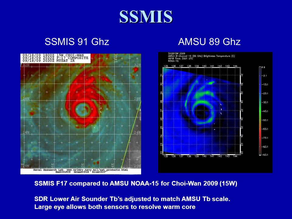 SSMIS F17 compared to AMSU NOAA-15 for Choi-Wan 2009 (15W) SDR Lower Air Sounder Tbs adjusted to match AMSU Tb scale.