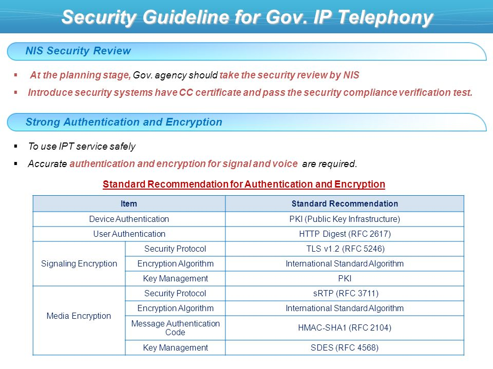 Security Guideline for Gov. IP Telephony NIS Security Review At the planning stage, Gov.