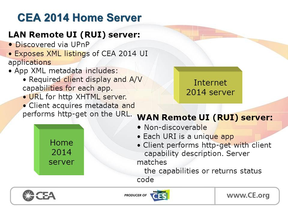 CEA 2014 Home Server Home 2014 server LAN Remote UI (RUI) server: Discovered via UPnP Exposes XML listings of CEA 2014 UI applications App XML metadat