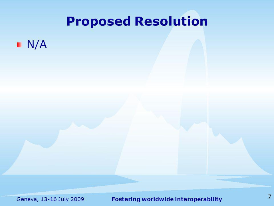 Fostering worldwide interoperability 77 Geneva, 13-16 July 2009 N/A Proposed Resolution
