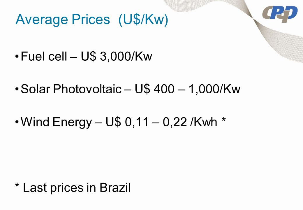 Average Prices (U$/Kw) Fuel cell – U$ 3,000/Kw Solar Photovoltaic – U$ 400 – 1,000/Kw Wind Energy – U$ 0,11 – 0,22 /Kwh * * Last prices in Brazil