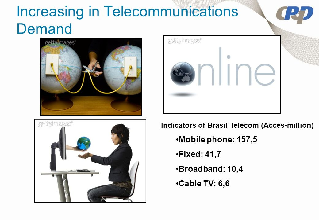 Increasing in Telecommunications Demand Indicators of Brasil Telecom (Acces-million) Mobile phone: 157,5 Fixed: 41,7 Broadband: 10,4 Cable TV: 6,6