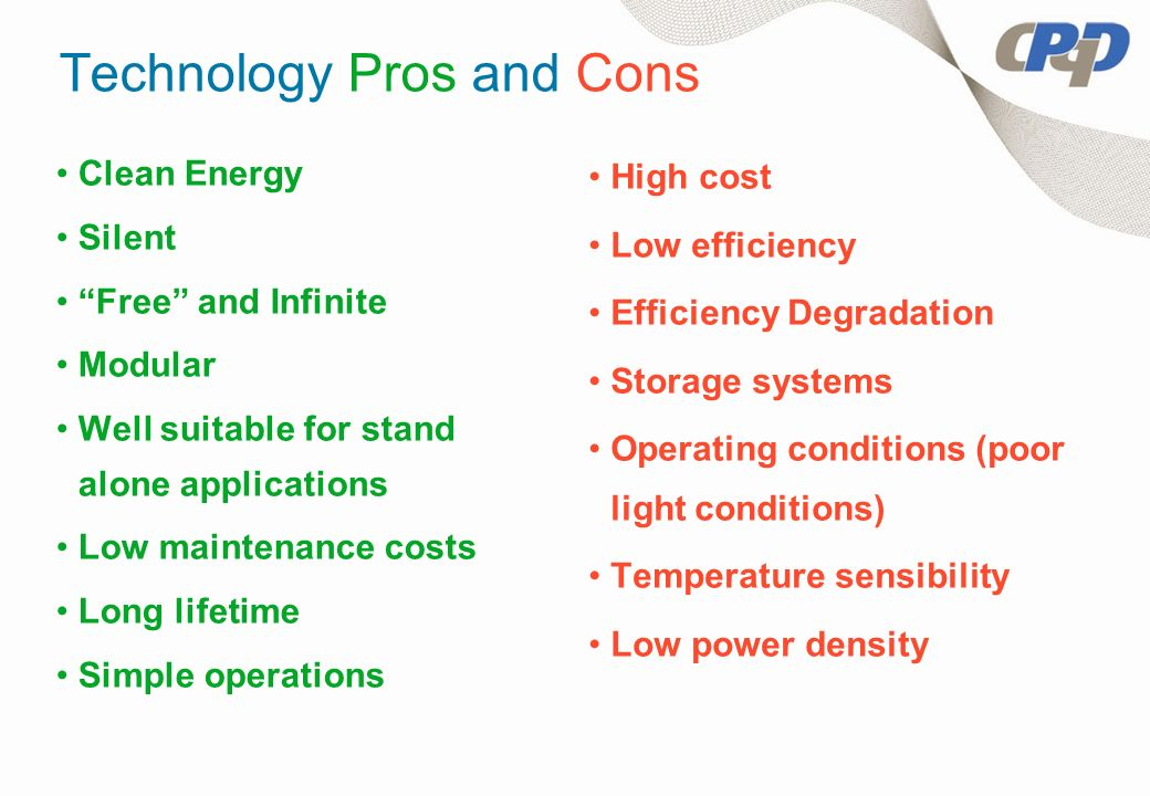 Technology Pros and Cons Clean Energy Silent Free and Infinite Modular Well suitable for stand alone applications Low maintenance costs Long lifetime Simple operations High cost Low efficiency Efficiency Degradation Storage systems Operating conditions (poor light conditions) Temperature sensibility Low power density
