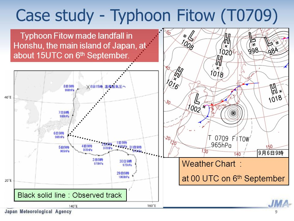 Case study - Typhoon Fitow (T0709) Black solid line : Observed track Weather Chart : at 00 UTC on 6 th September Typhoon Fitow made landfall in Honshu, the main island of Japan, at about 15UTC on 6 th September.