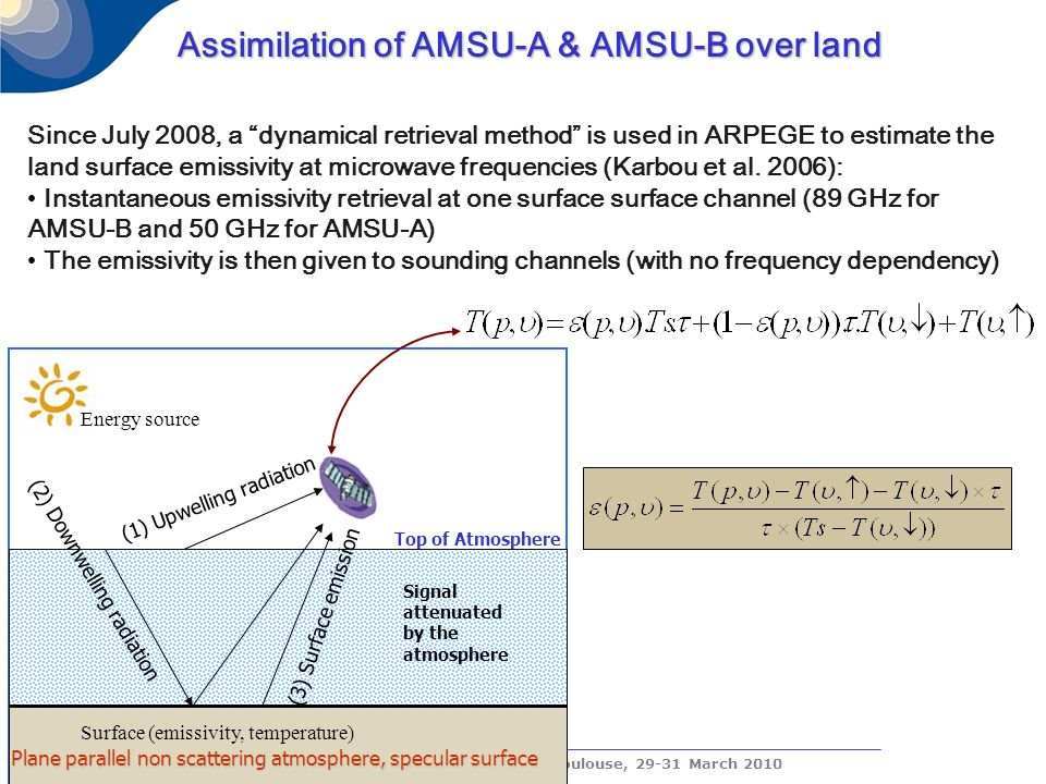 The CONCORDIASI Workshop, Toulouse, 29-31 March 2010 Assimilation of AMSU-A & AMSU-B over land Assimilation of AMSU-A & AMSU-B over land Since July 2008, a dynamical retrieval method is used in ARPEGE to estimate the land surface emissivity at microwave frequencies (Karbou et al.