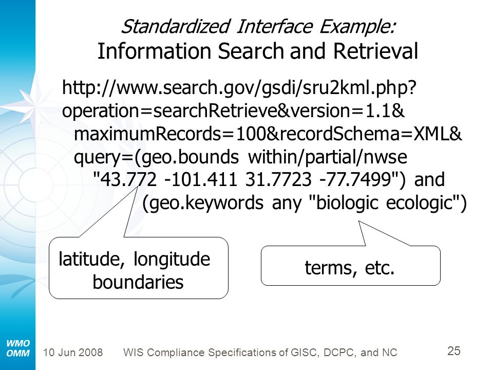 10 Jun 2008WIS Compliance Specifications of GISC, DCPC, and NC 25 Standardized Interface Example: Information Search and Retrieval latitude, longitude