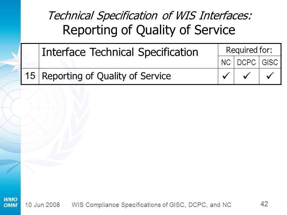 10 Jun 2008WIS Compliance Specifications of GISC, DCPC, and NC 42 Technical Specification of WIS Interfaces: Reporting of Quality of Service Interface