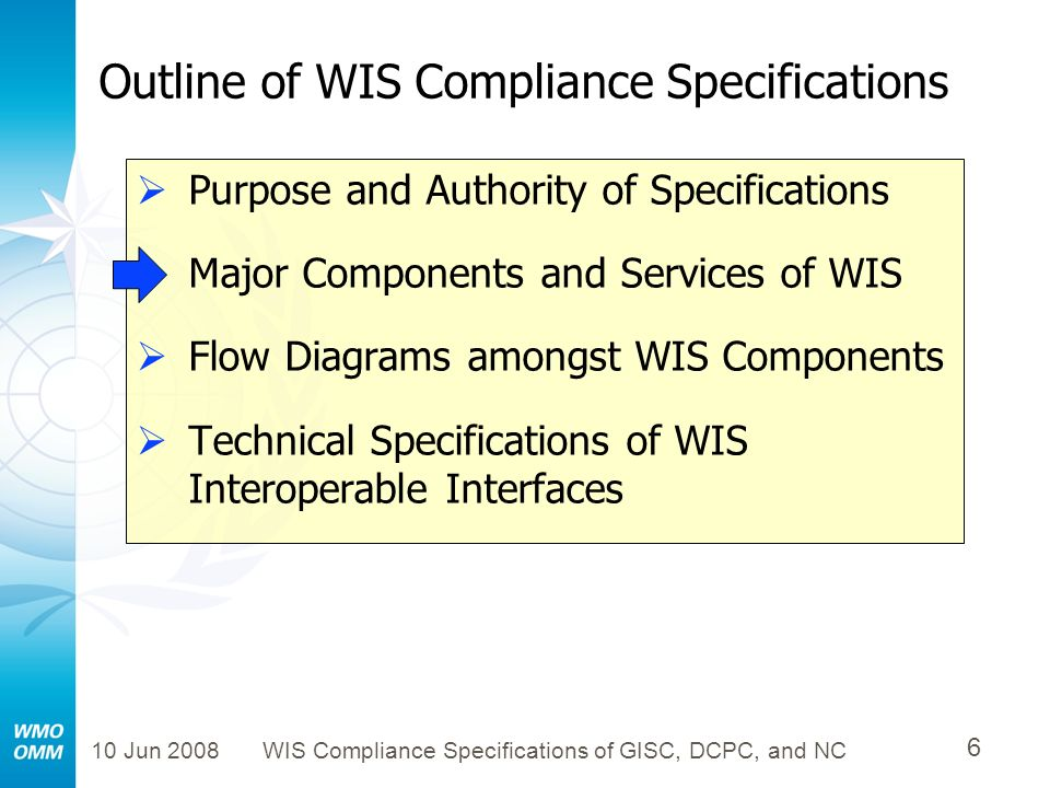 10 Jun 2008WIS Compliance Specifications of GISC, DCPC, and NC 17 Major Components and Services of WIS: Global Ocean Observing System (GOOS) WIS Global Information System Centres (GISC s) Product Generation WMO Global Telecommunications System (GTS) Observations IODE Ocean Portal (also s a WIS DCPC ) JCOMM Data Portals (also known as WIS DCPC s ) Data and Product Users
