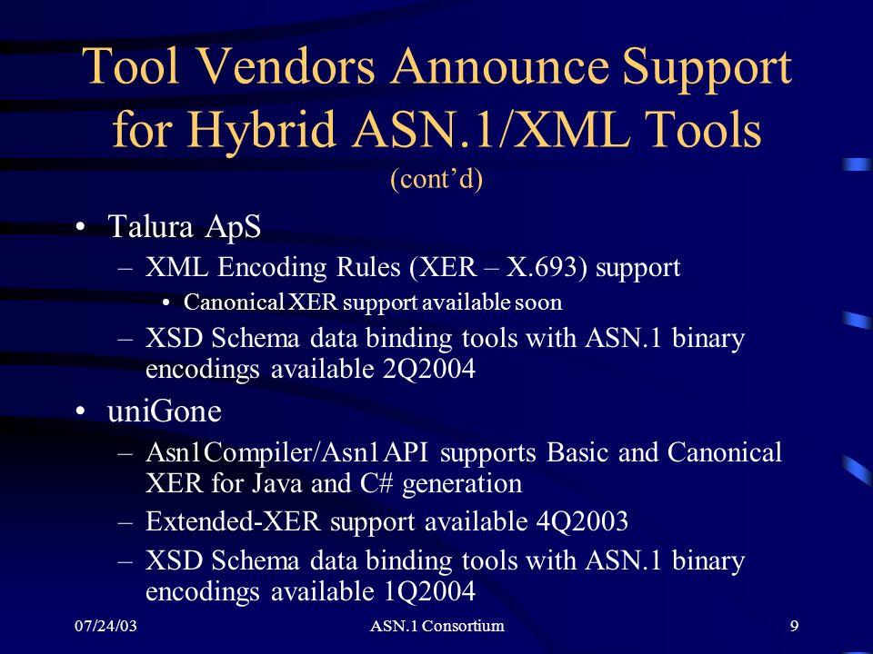 07/24/03ASN.1 Consortium9 Tool Vendors Announce Support for Hybrid ASN.1/XML Tools (contd) Talura ApS –XML Encoding Rules (XER – X.693) support Canoni
