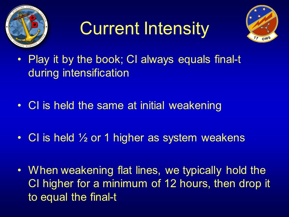 Current Intensity Play it by the book; CI always equals final-t during intensification CI is held the same at initial weakening CI is held ½ or 1 high