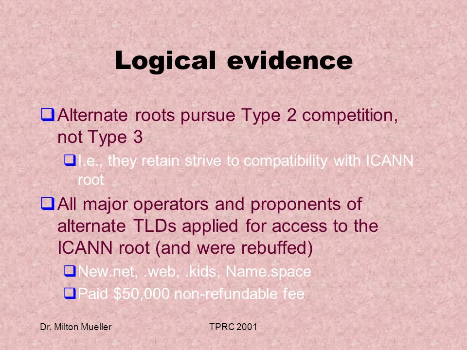 Dr. Milton MuellerTPRC 2001 Logical evidence Alternate roots pursue Type 2 competition, not Type 3 I.e., they retain strive to compatibility with ICAN