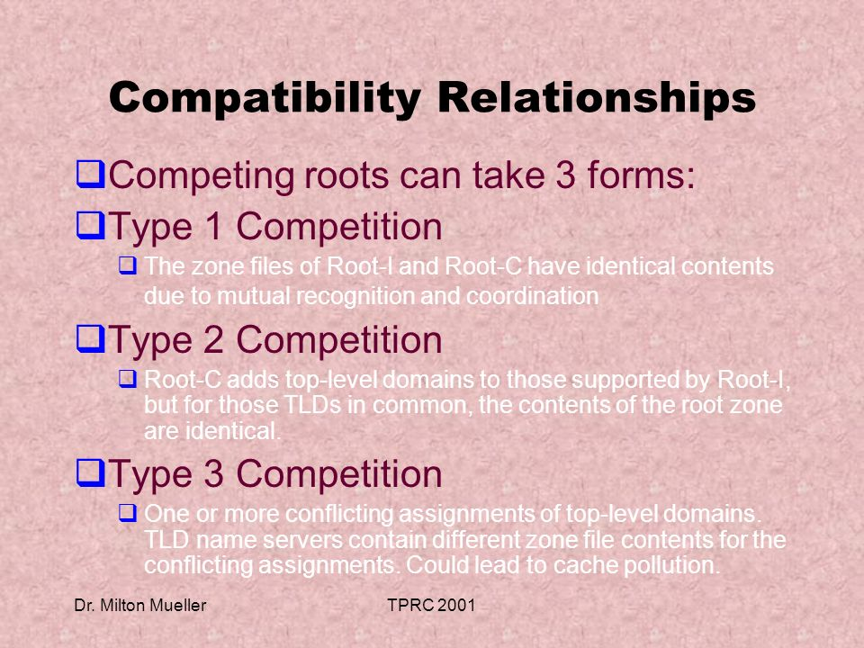 Dr. Milton MuellerTPRC 2001 Compatibility Relationships Competing roots can take 3 forms: Type 1 Competition The zone files of Root-I and Root-C have
