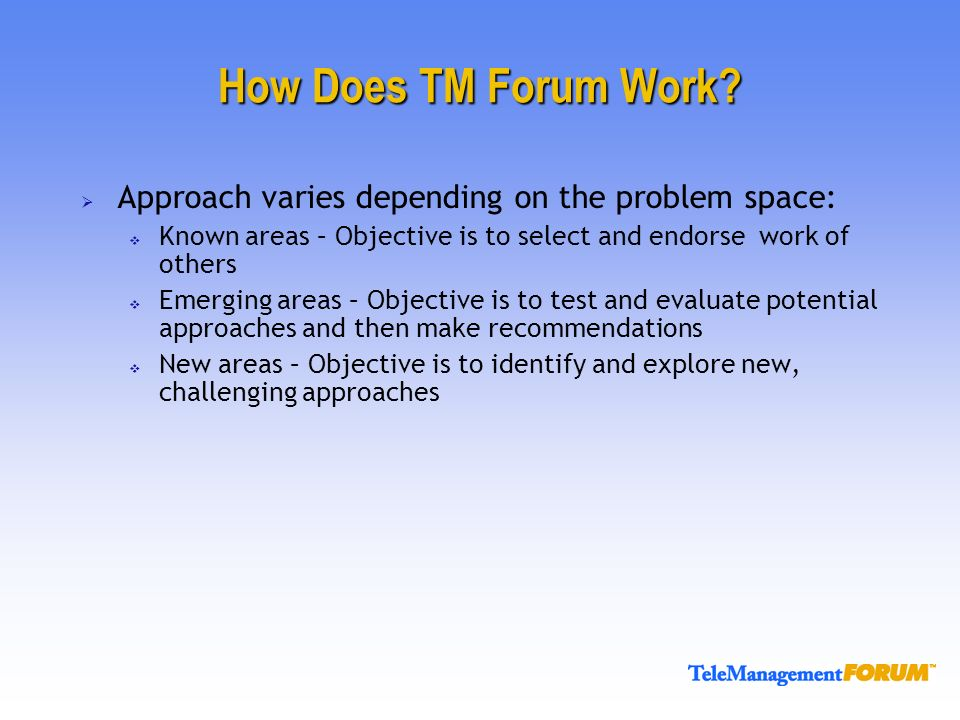 How Does TM Forum Work.