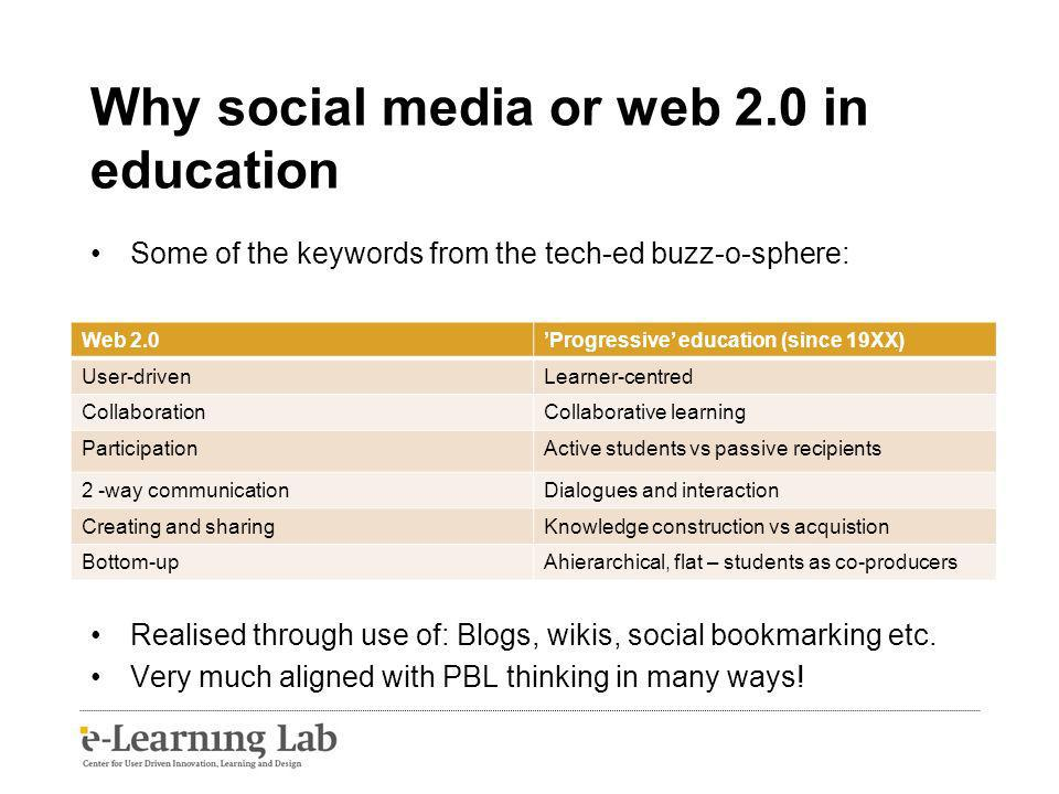 Why social media or web 2.0 in education Some of the keywords from the tech-ed buzz-o-sphere: Realised through use of: Blogs, wikis, social bookmarking etc.