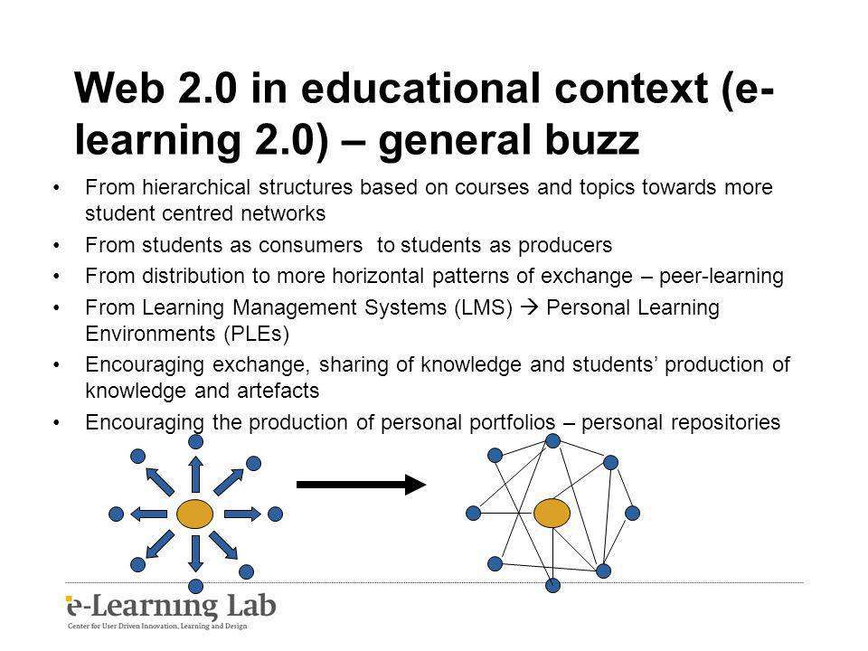 Web 2.0 in educational context (e- learning 2.0) – general buzz From hierarchical structures based on courses and topics towards more student centred networks From students as consumers to students as producers From distribution to more horizontal patterns of exchange – peer-learning From Learning Management Systems (LMS) Personal Learning Environments (PLEs) Encouraging exchange, sharing of knowledge and students production of knowledge and artefacts Encouraging the production of personal portfolios – personal repositories