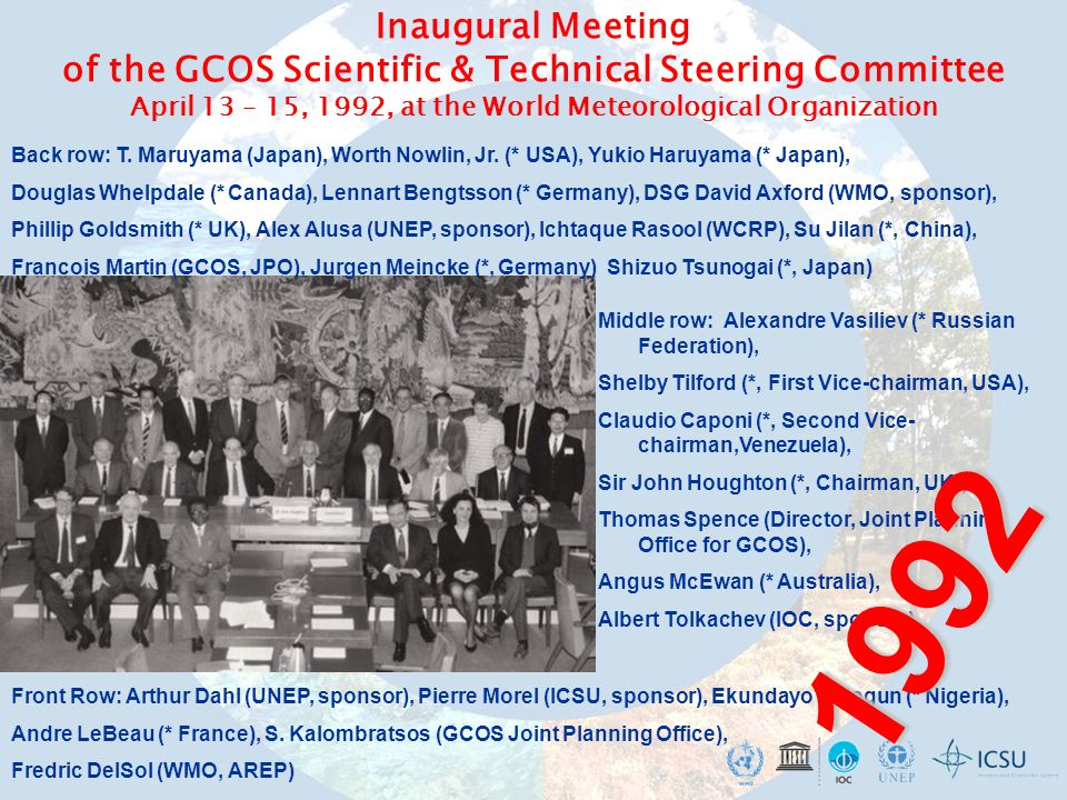 The Composition and Scope of the Main Global Observing Systems SYSTEMSOCEANATMOSPHERELAND GEOSS GOOS GCOS GTOS WIGOS (GOS AND GAW)