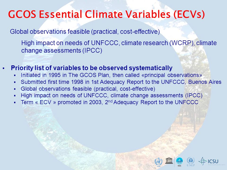 GCOS Essential Climate Variables (ECVs) Priority list of variables to be observed systematically Initiated in 1995 in The GCOS Plan, then called «prin