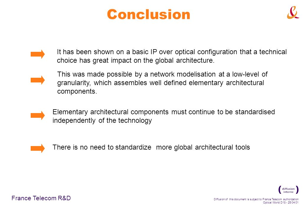 France Telecom R&D Diffusion of this document is subject to France Telecom authorization Optical World D /04/01 Conclusion It has been shown on a basic IP over optical configuration that a technical choice has great impact on the global architecture.