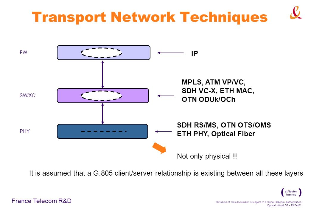 France Telecom R&D Diffusion of this document is subject to France Telecom authorization Optical World D8 - 25/04/01 Transport Network Techniques FW SW/XC PHY MPLS, ATM VP/VC, SDH VC-X, ETH MAC, OTN ODUk/OCh IP SDH RS/MS, OTN OTS/OMS ETH PHY, Optical Fiber Not only physical !.