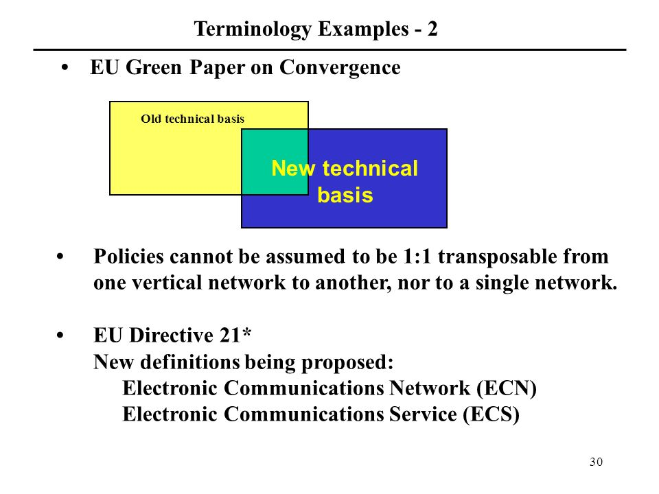 30 Policies cannot be assumed to be 1:1 transposable from one vertical network to another, nor to a single network.