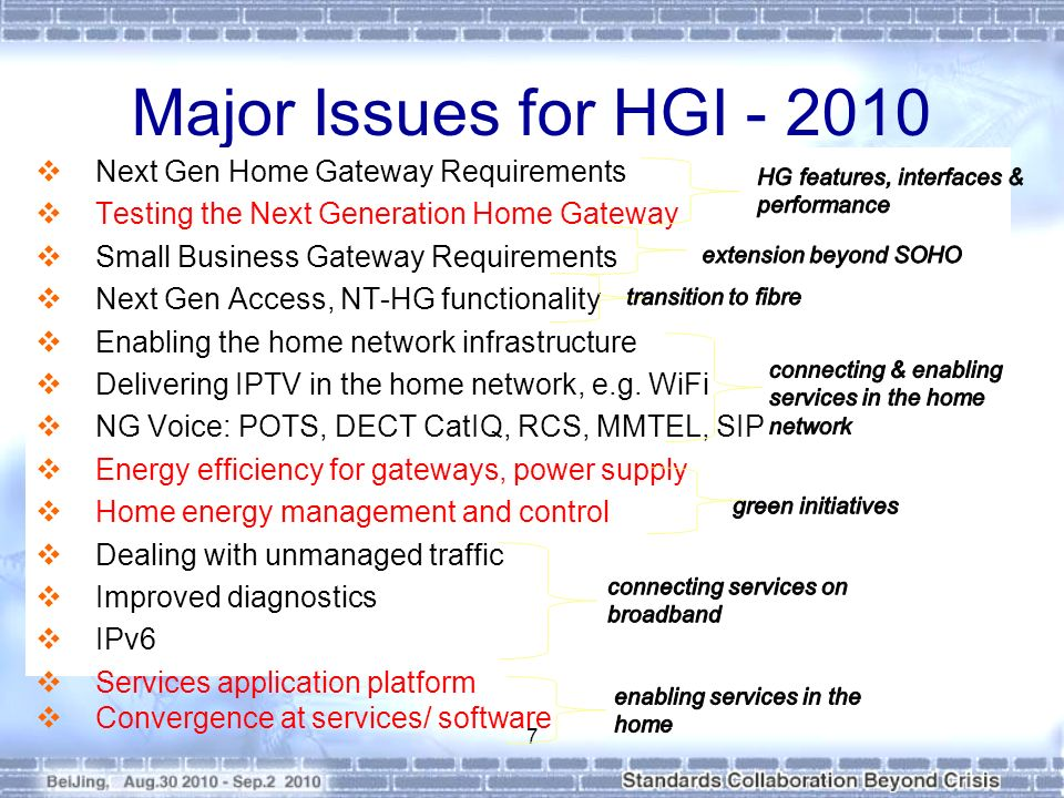 Major Issues for HGI - 2010 Next Gen Home Gateway Requirements Testing the Next Generation Home Gateway Small Business Gateway Requirements Next Gen Access, NT-HG functionality Enabling the home network infrastructure Delivering IPTV in the home network, e.g.