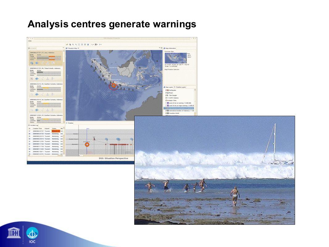 Analysis centres generate warnings