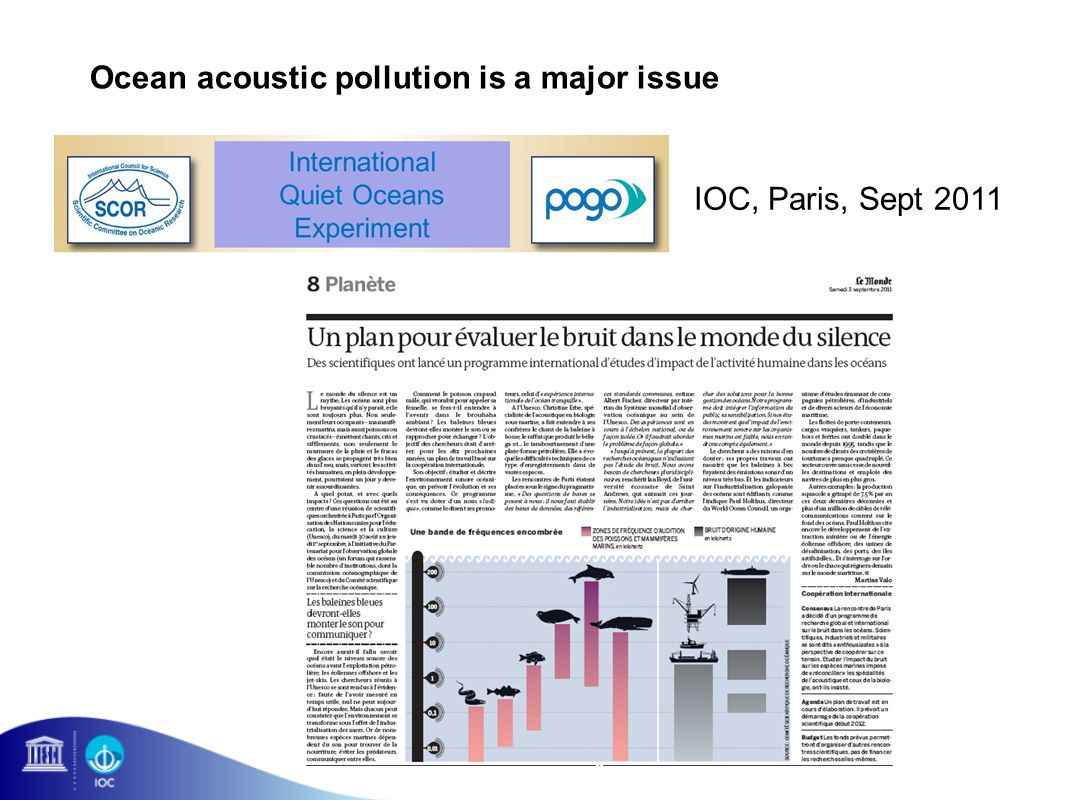 Ocean acoustic pollution is a major issue IOC, Paris, Sept 2011