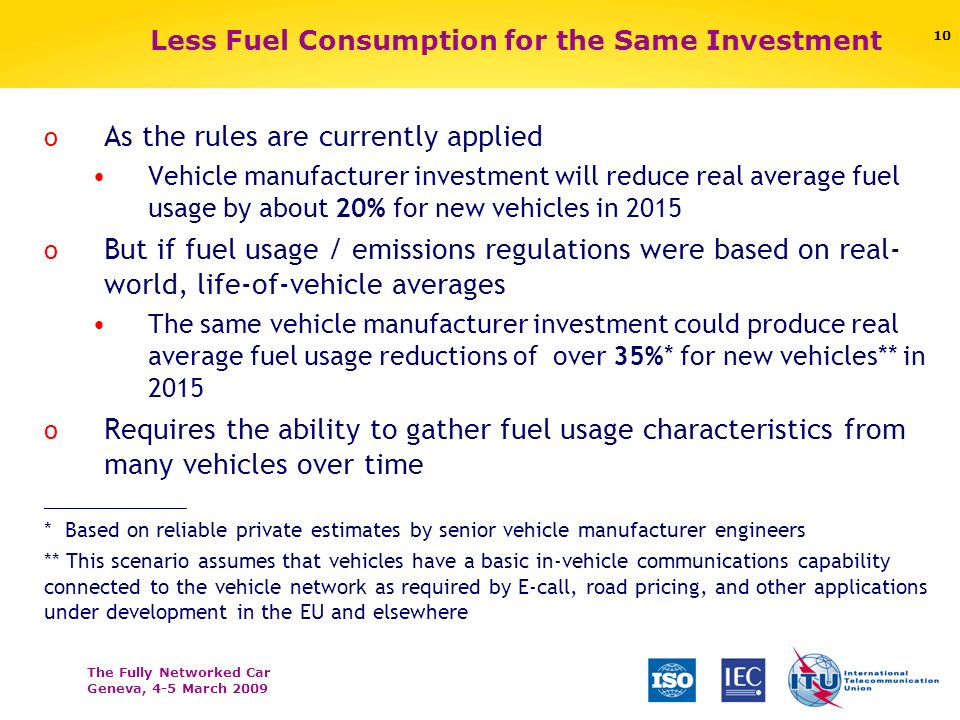 The Fully Networked Car Geneva, 4-5 March Less Fuel Consumption for the Same Investment o As the rules are currently applied Vehicle manufacturer investment will reduce real average fuel usage by about 20% for new vehicles in 2015 o But if fuel usage / emissions regulations were based on real- world, life-of-vehicle averages The same vehicle manufacturer investment could produce real average fuel usage reductions of over 35%* for new vehicles** in 2015 o Requires the ability to gather fuel usage characteristics from many vehicles over time _____________ * Based on reliable private estimates by senior vehicle manufacturer engineers ** This scenario assumes that vehicles have a basic in-vehicle communications capability connected to the vehicle network as required by E-call, road pricing, and other applications under development in the EU and elsewhere