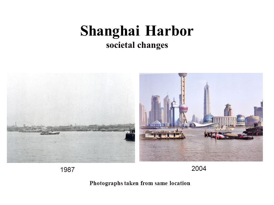 Shanghai Harbor societal changes Photographs taken from same location