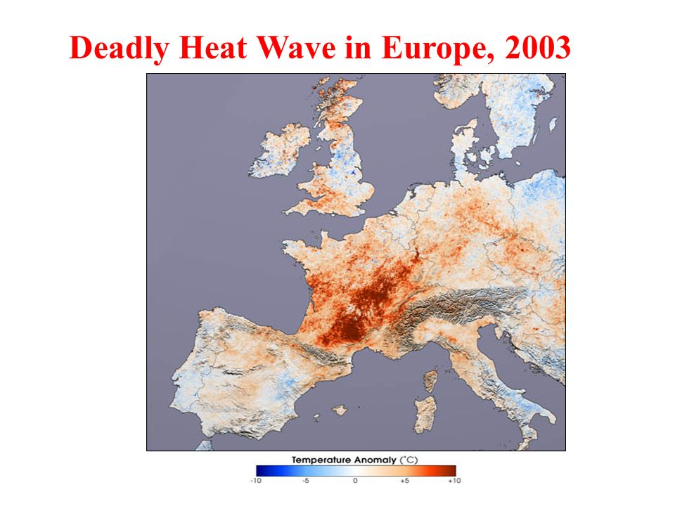 Temperature Anomalies (July 2001 compared to July 2003) Deadly Heat Wave in Europe, 2003