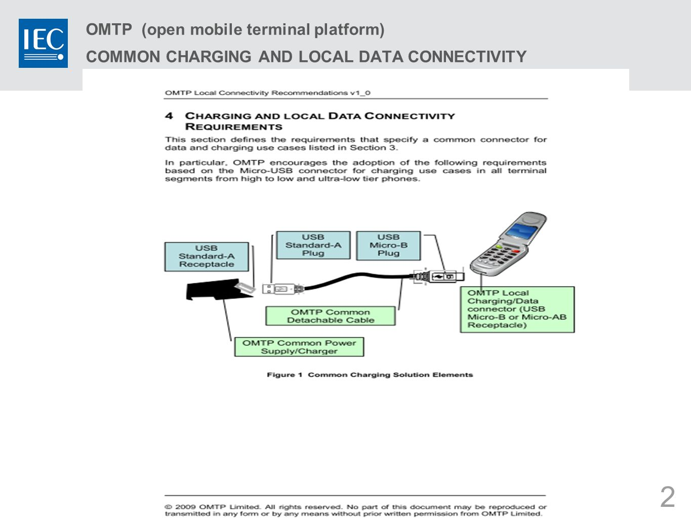 2 OMTP (open mobile terminal platform) COMMON CHARGING AND LOCAL DATA CONNECTIVITY