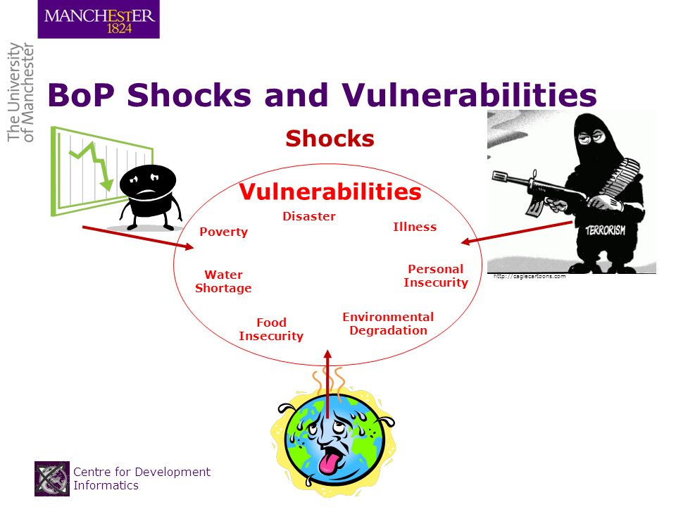 Centre for Development Informatics BoP Shocks and Vulnerabilities http://caglecartoons.com Shocks Vulnerabilities Illness Environmental Degradation Personal Insecurity Poverty Food Insecurity Water Shortage Disaster