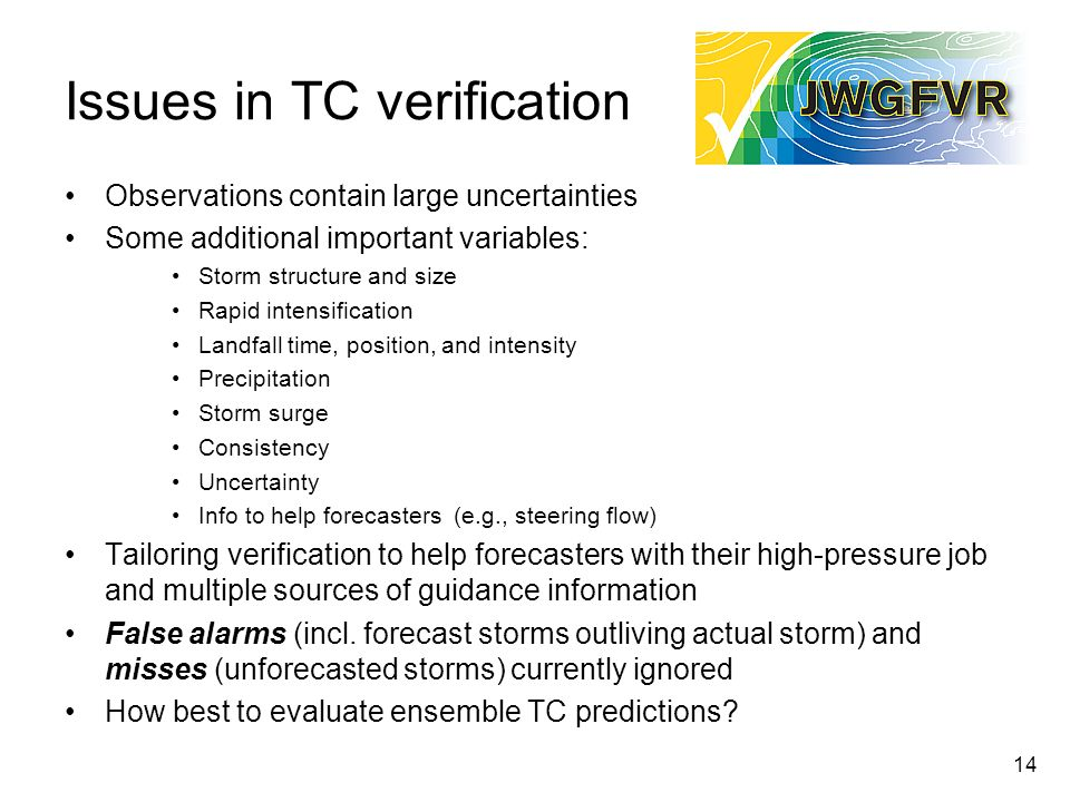 Issues in TC verification Observations contain large uncertainties Some additional important variables: Storm structure and size Rapid intensification