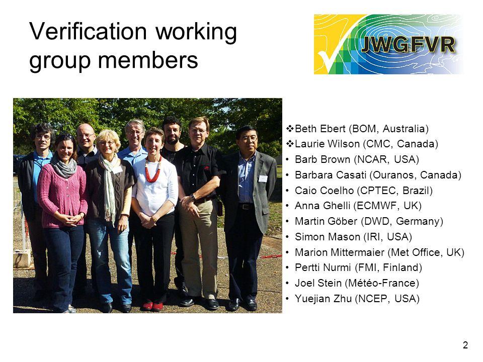 2 Verification working group members Beth Ebert (BOM, Australia) Laurie Wilson (CMC, Canada) Barb Brown (NCAR, USA) Barbara Casati (Ouranos, Canada) C
