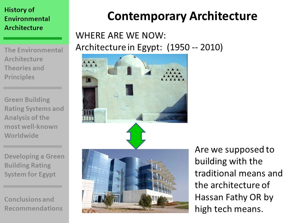 The Environmental Architecture Theories and Principles Green Building Rating Systems and Analysis of the most well-known Worldwide Developing a Green Building Rating System for Egypt Conclusions and Recommendations History of Environmental Architecture Contemporary Architecture WHERE ARE WE NOW: Architecture in Egypt: (1950 -- 2010) Are we supposed to building with the traditional means and the architecture of Hassan Fathy OR by high tech means.
