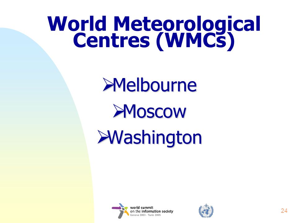 24 World Meteorological Centres (WMCs) Melbourne Melbourne Moscow Moscow Washington Washington