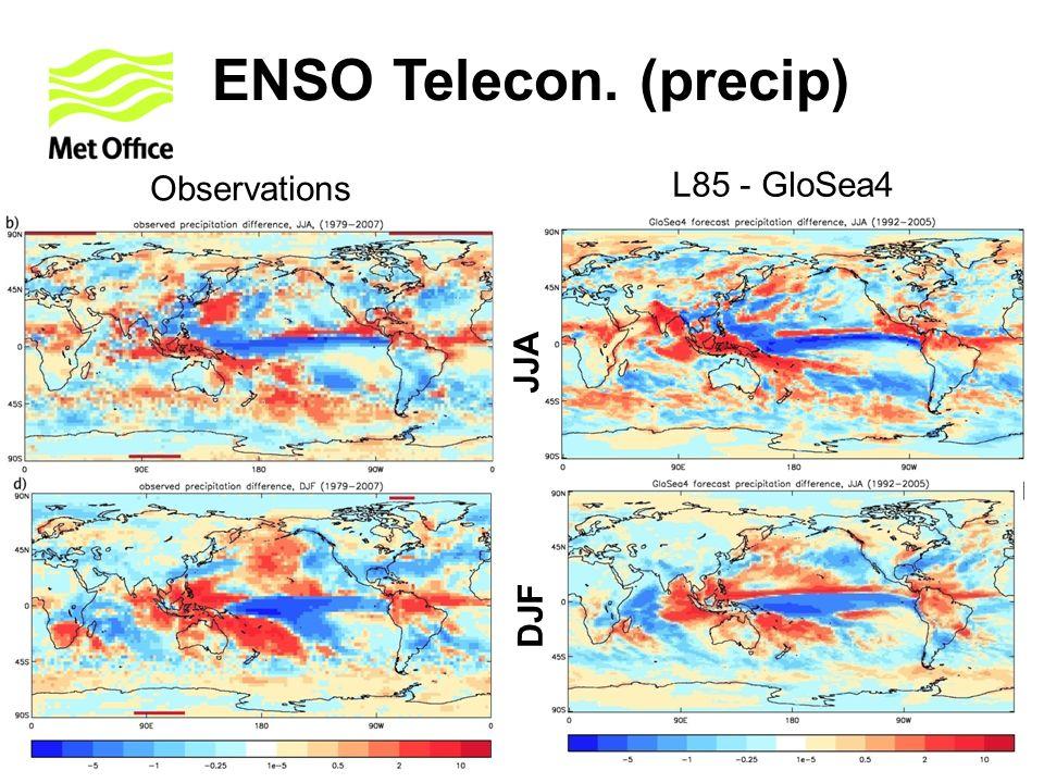 ENSO Telecon. (precip) Observations L85 - GloSea4 JJA DJF