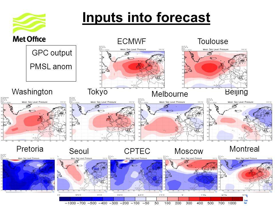 GPC output PMSL anom PretoriaMontreal Toulouse Tokyo Seoul Melbourne Washington CPTEC Exeter Beijing ECMWF Moscow Inputs into forecast