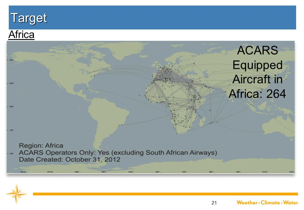 21 Target ACARS Equipped Aircraft in Africa: 264 Africa