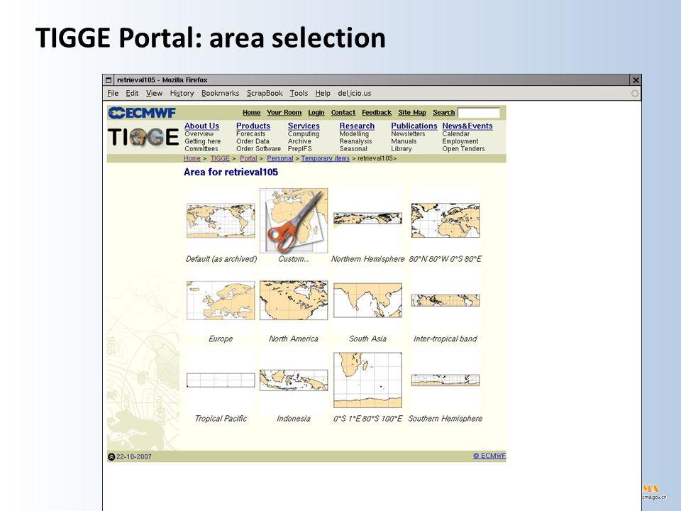 TIGGE Portal: area selection