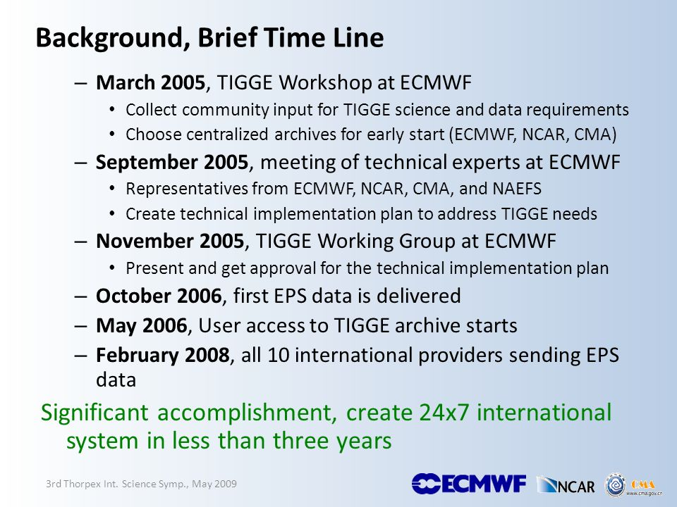 Background, Brief Time Line – March 2005, TIGGE Workshop at ECMWF Collect community input for TIGGE science and data requirements Choose centralized a