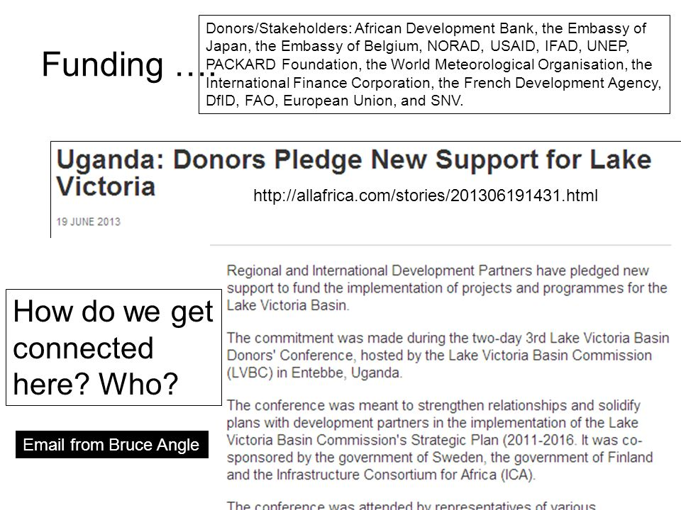 Funding …. How do we get connected here? Who? Donors/Stakeholders: African Development Bank, the Embassy of Japan, the Embassy of Belgium, NORAD, USAI