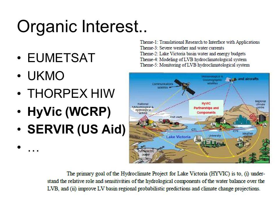 Organic Interest.. EUMETSAT UKMO THORPEX HIW HyVic (WCRP) SERVIR (US Aid) …