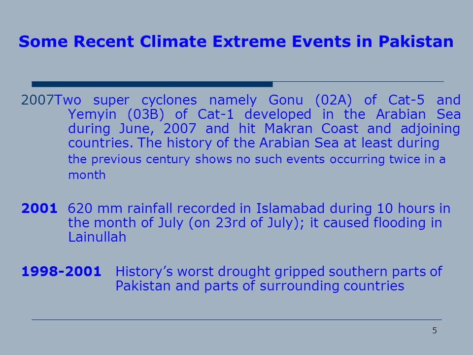 5 Some Recent Climate Extreme Events in Pakistan 2007Two super cyclones namely Gonu (02A) of Cat-5 and Yemyin (03B) of Cat-1 developed in the Arabian