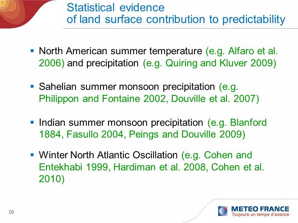 10 Statistical evidence of land surface contribution to predictability North American summer temperature (e.g. Alfaro et al. 2006) and precipitation (