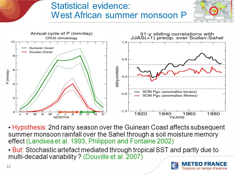12 Statistical evidence: West African summer monsoon P Hypothesis: 2nd rainy season over the Guinean Coast affects subsequent summer monsoon rainfall