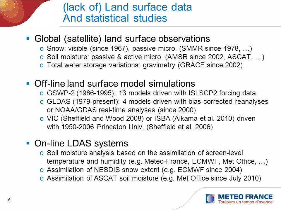 6 (lack of) Land surface data And statistical studies Global (satellite) land surface observations oSnow: visible (since 1967), passive micro. (SMMR s
