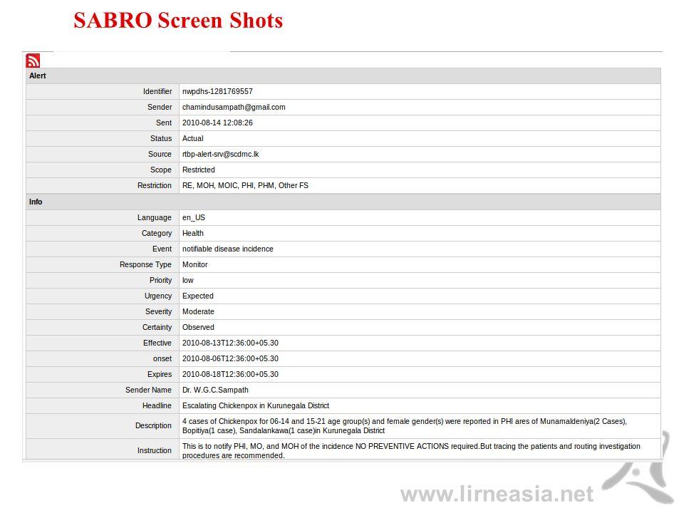 www.lirneasia.net SABRO Screen Shots