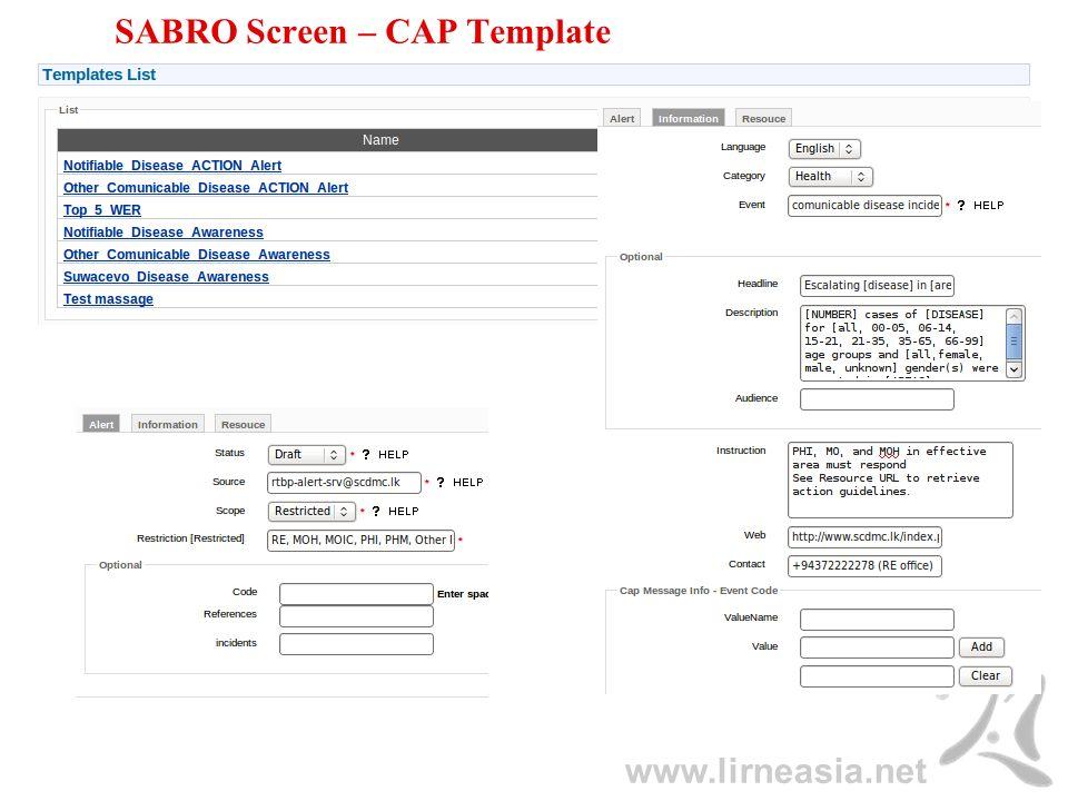 www.lirneasia.net SABRO Screen – CAP Template