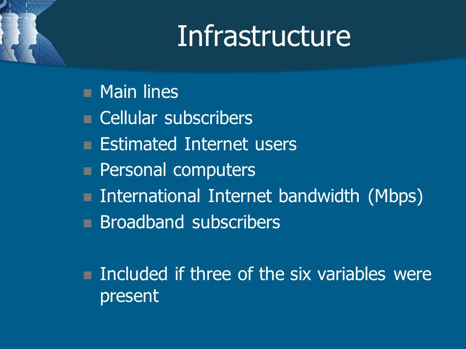 Infrastructure n Main lines n Cellular subscribers n Estimated Internet users n Personal computers n International Internet bandwidth (Mbps) n Broadband subscribers n Included if three of the six variables were present